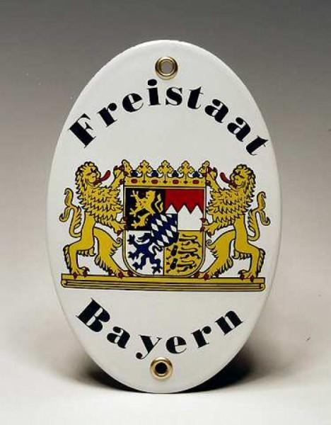 Emaill-Schild, Freistaat Bayern