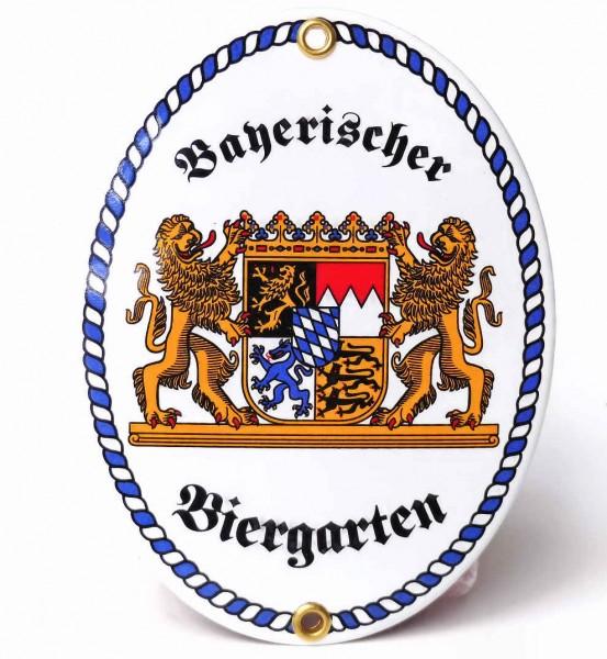Emaille-Schild, Bayerischer Biergarten