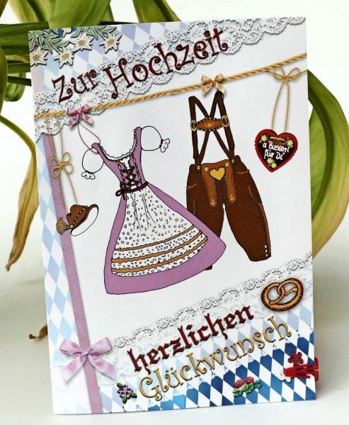 Dirndl und Lederhose, Hochzeitskarte