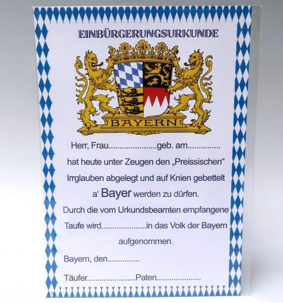 Bayerische Einbürgerungsurkunde