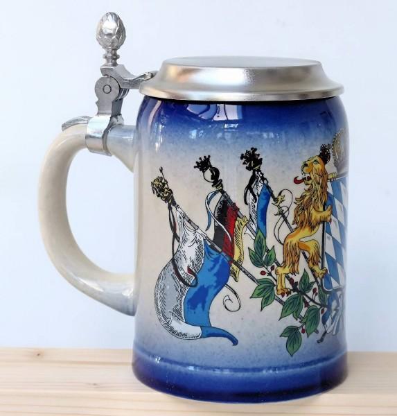 Bierkrug Enzianblau mit Deckel 0,5L