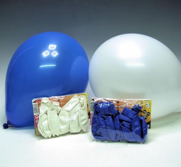 Luftballons weiß-blau, 20er-Pack