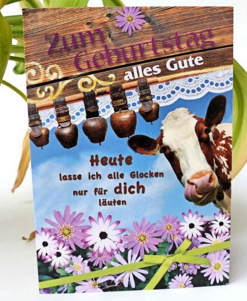 Kuh+Glocken, Geburtstagskarte