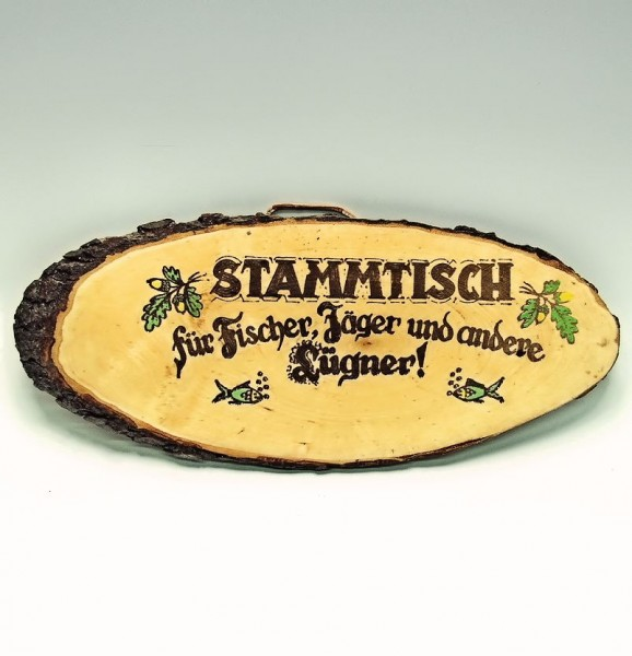 Stammtisch-Schild für Fischer, Jäger, Lügner