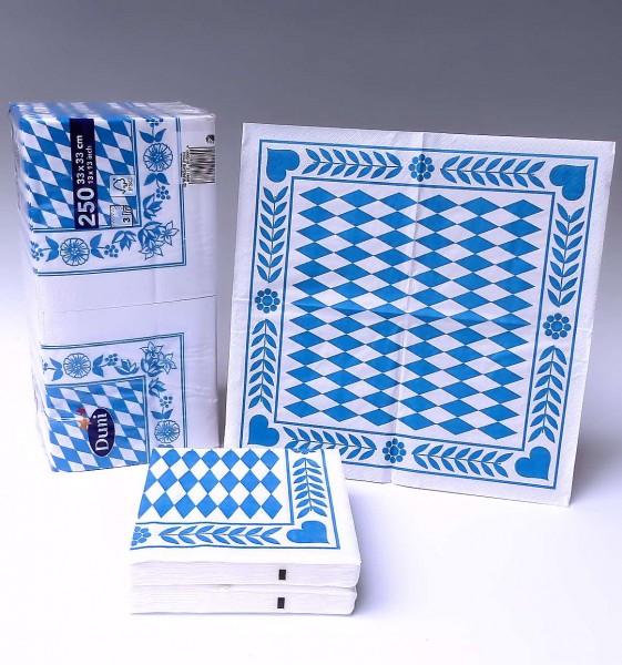 Servietten Raute, weiß-blau