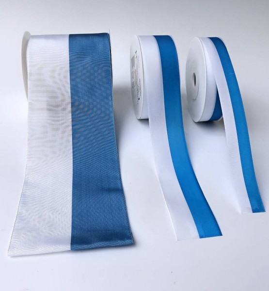 Schleifenband weiß-blau