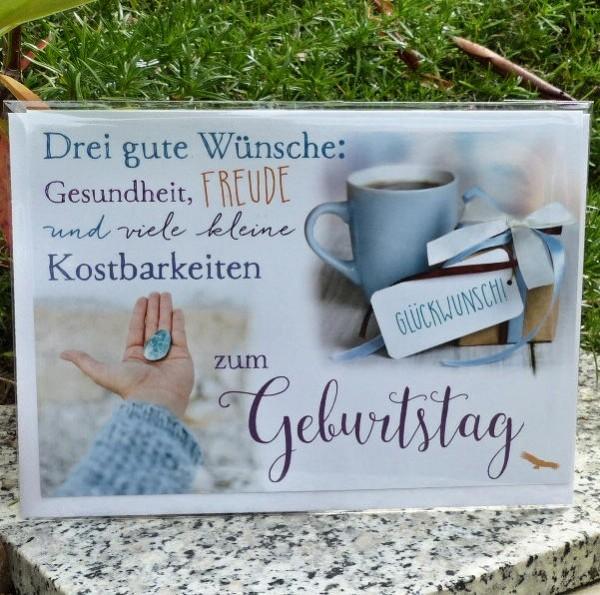 Kaffeetasse+Edelstein, Geburtstagskarte